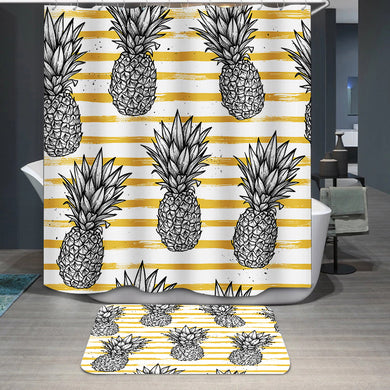 Pineapple with striped background Shower Curtain