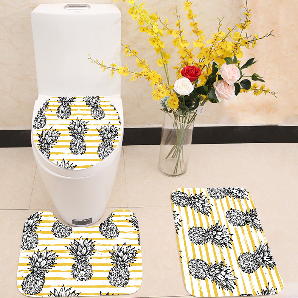 Pineapple with striped background 3 Piece Toilet Cover Set