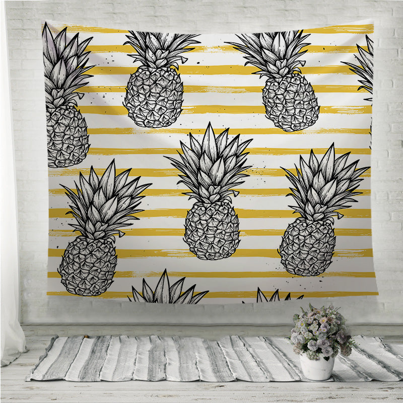 Pineapple with striped background Wall Tapestry