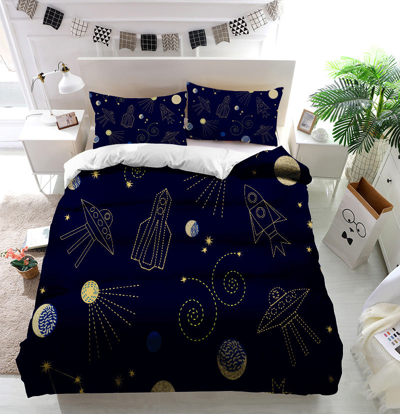Night sky cartoon Duvet Cover Bedding Set