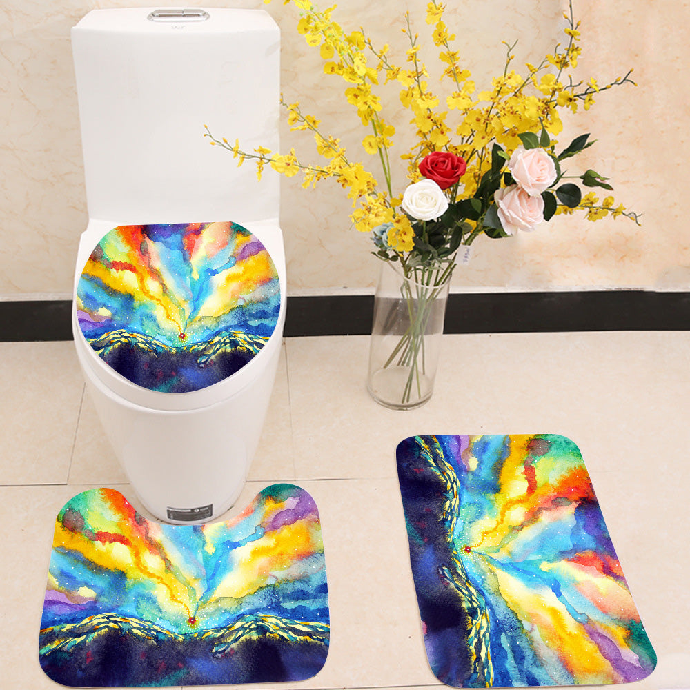 Colorful mountain sky 3 Piece Toilet Cover Set