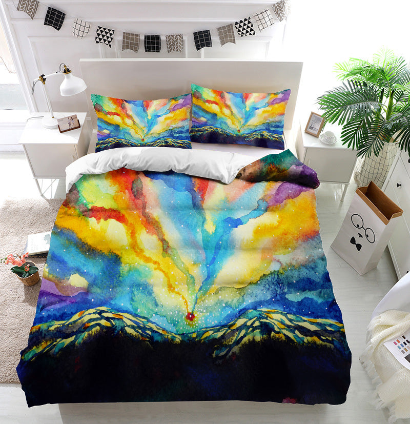 Colorful mountain sky Duvet Cover Bedding Set
