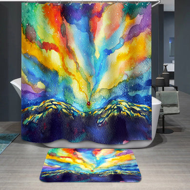 Colorful mountain sky Shower Curtain