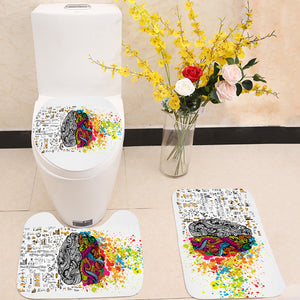 Creative and logic human mind 3 Piece Toilet Cover Set