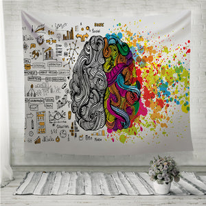 Creative and logic human mind Wall Tapestry