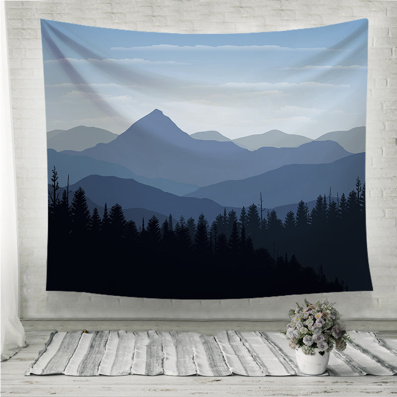 Sunset mountain peaks clouds Wall Tapestry