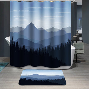 Sunset mountain peaks clouds Shower Curtain