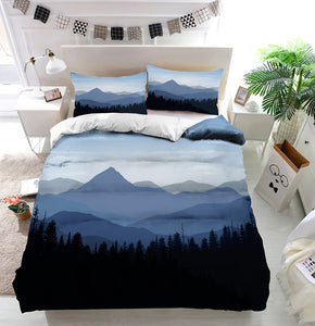 Sunset mountain peaks clouds Duvet Cover Bedding Set