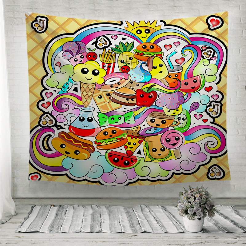 Kawaii Cute Food Doodle Wall Tapestry