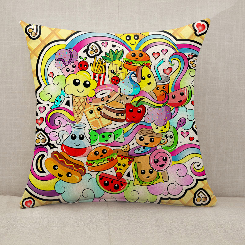 Kawaii Cute Food Doodle Throw Pillow [With Inserts]