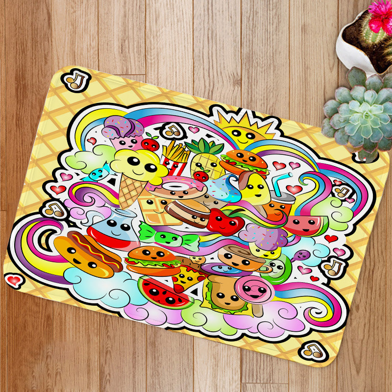 Kawaii Cute Food Doodle Bath Mat