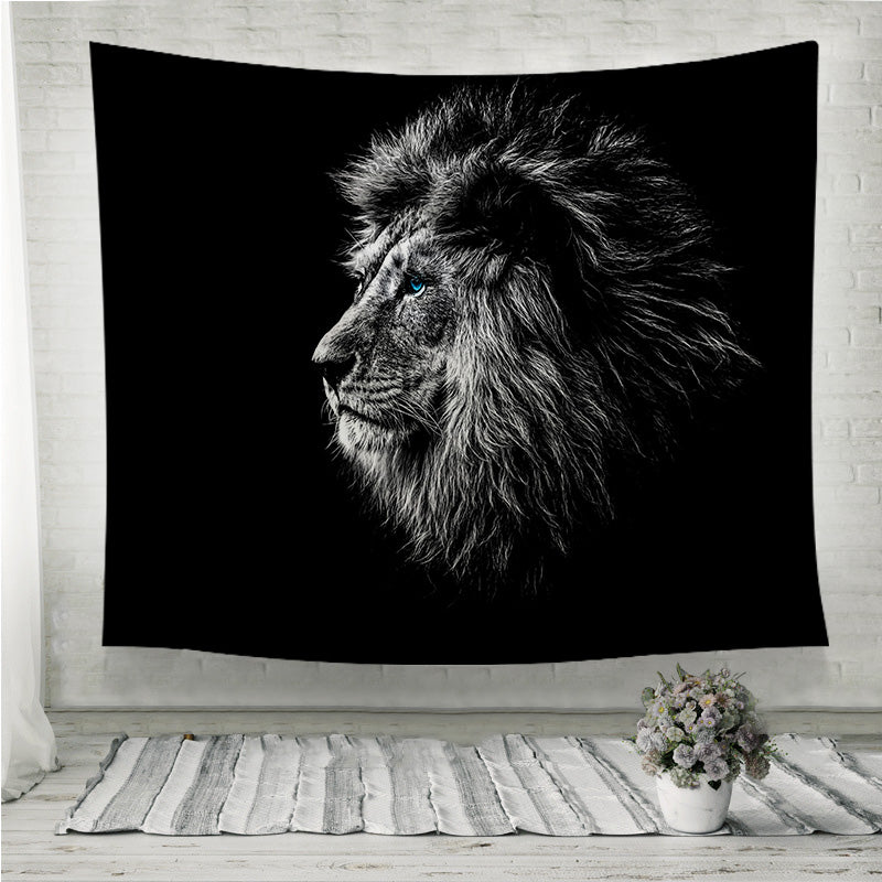 Lion in black and white blue eyes Wall Tapestry