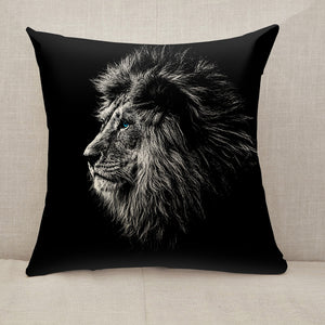 Lion in black and white blue eyes Throw Pillow [With Inserts]