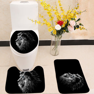 Lion in black and white blue eyes 3 Piece Toilet Cover Set