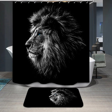 Lion in black and white blue eyes Shower Curtain