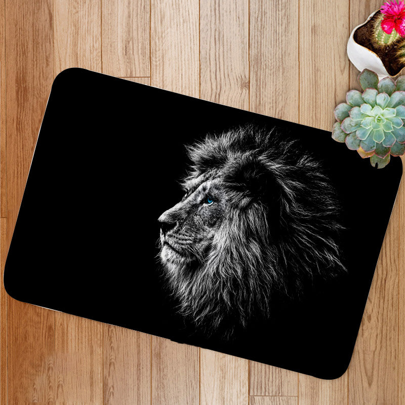 Lion in black and white blue eyes Bath Mat