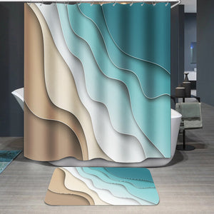 Abstract blue sea and beach Shower Curtain