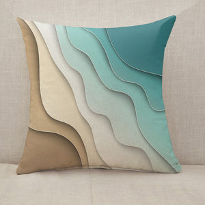Abstract blue sea and beach Throw Pillow [With Inserts]