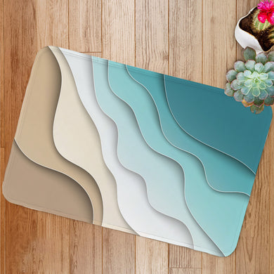 Abstract blue sea and beach Bath Mat