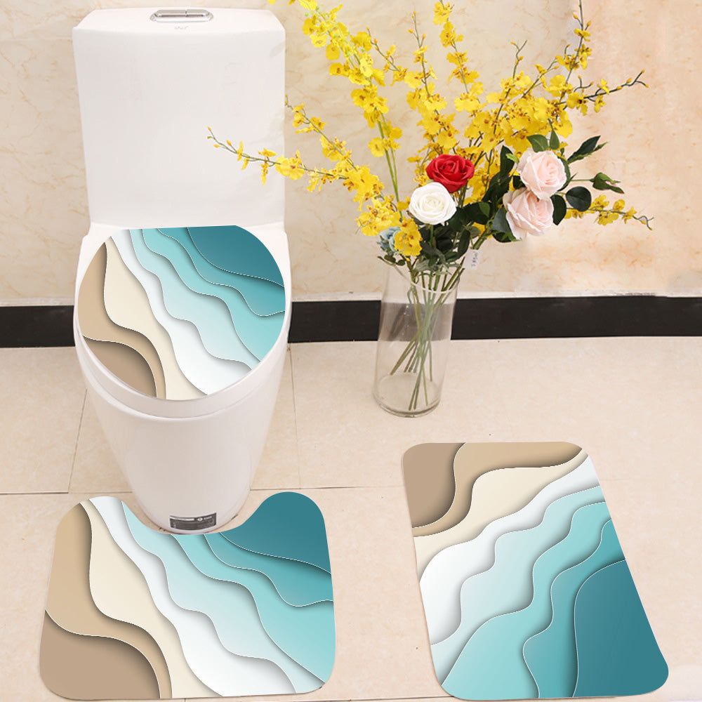 Abstract blue sea and beach 3 Piece Toilet Cover Set