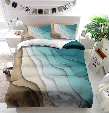 Abstract blue sea and beach Duvet Cover Bedding Set