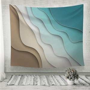 Abstract blue sea and beach Wall Tapestry