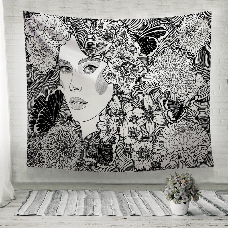 Girl flowers and butterflies Wall Tapestry
