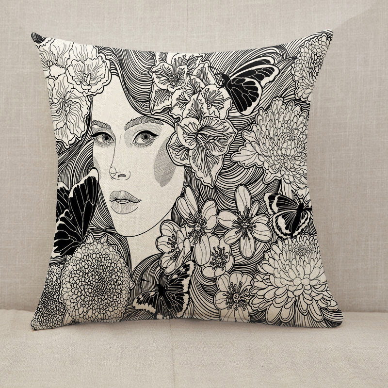 Girl flowers and butterflies Throw Pillow [With Inserts]