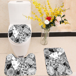Girl flowers and butterflies 3 Piece Toilet Cover Set