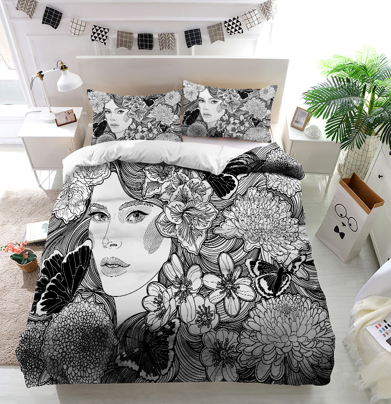 Girl flowers and butterflies Duvet Cover Bedding Set