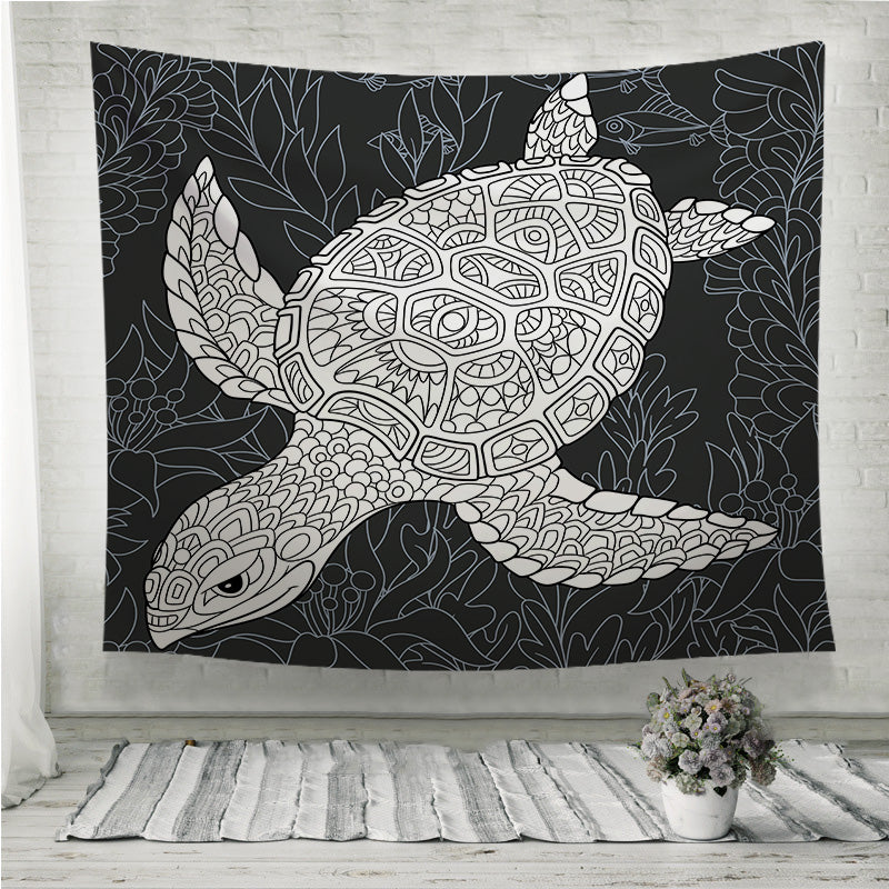 Turtle in black and white Wall Tapestry