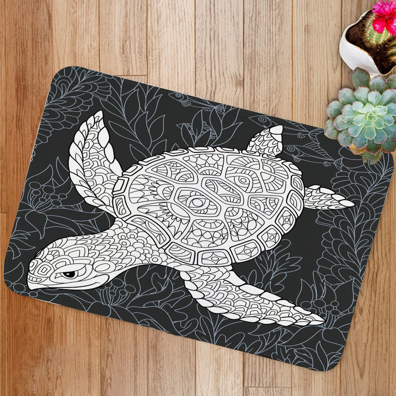 Turtle in black and white Bath Mat