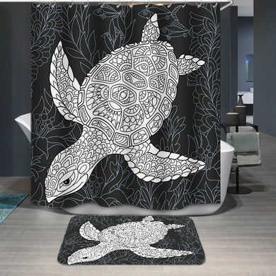 Turtle in black and white Shower Curtain