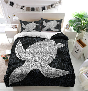 Turtle in black and white Duvet Cover Bedding Set