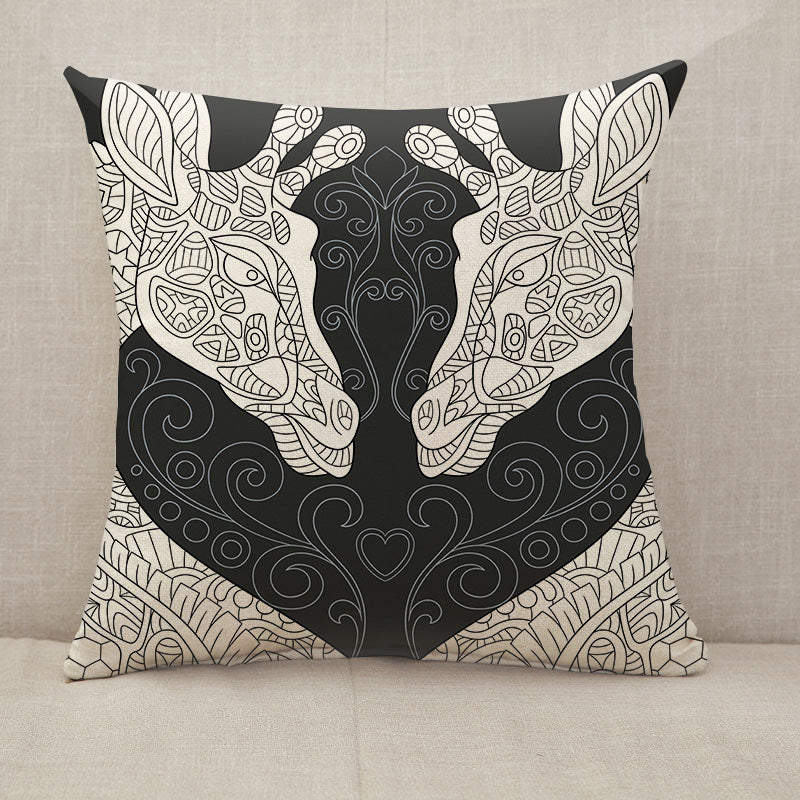 Giraffes in black and white  Throw Pillow [With Inserts]