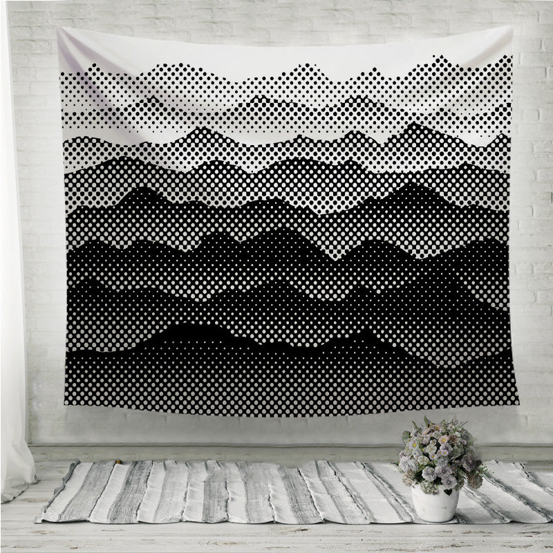 Black and white half tone mountains  Wall Tapestry