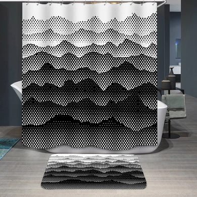 Black and white half tone mountains Shower Curtain