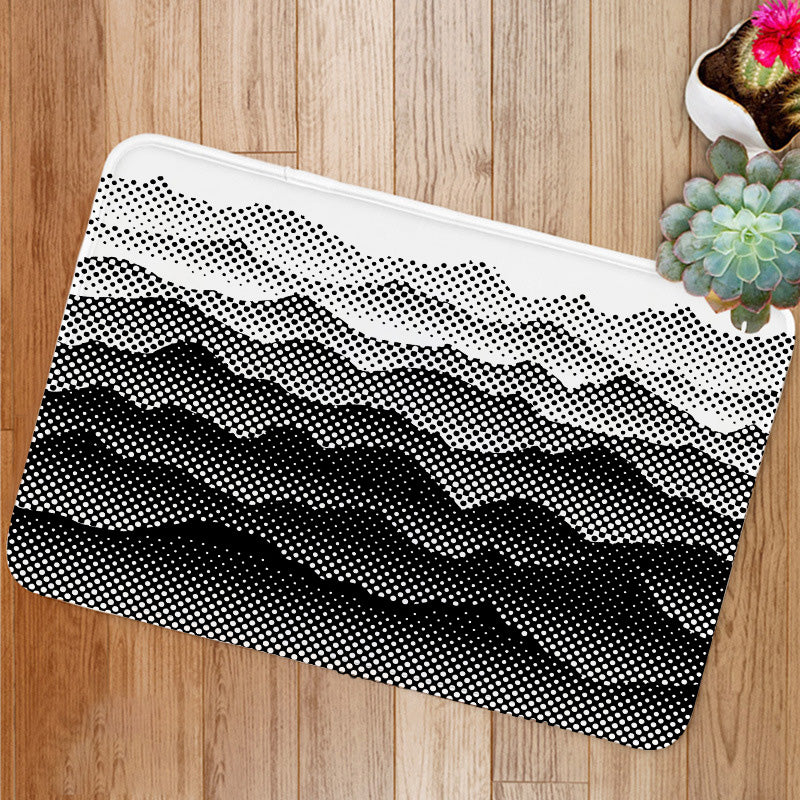 Black and white half tone mountains Bath Mat