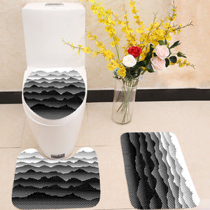 Black and white half tone mountains  3 Piece Toilet Cover Set