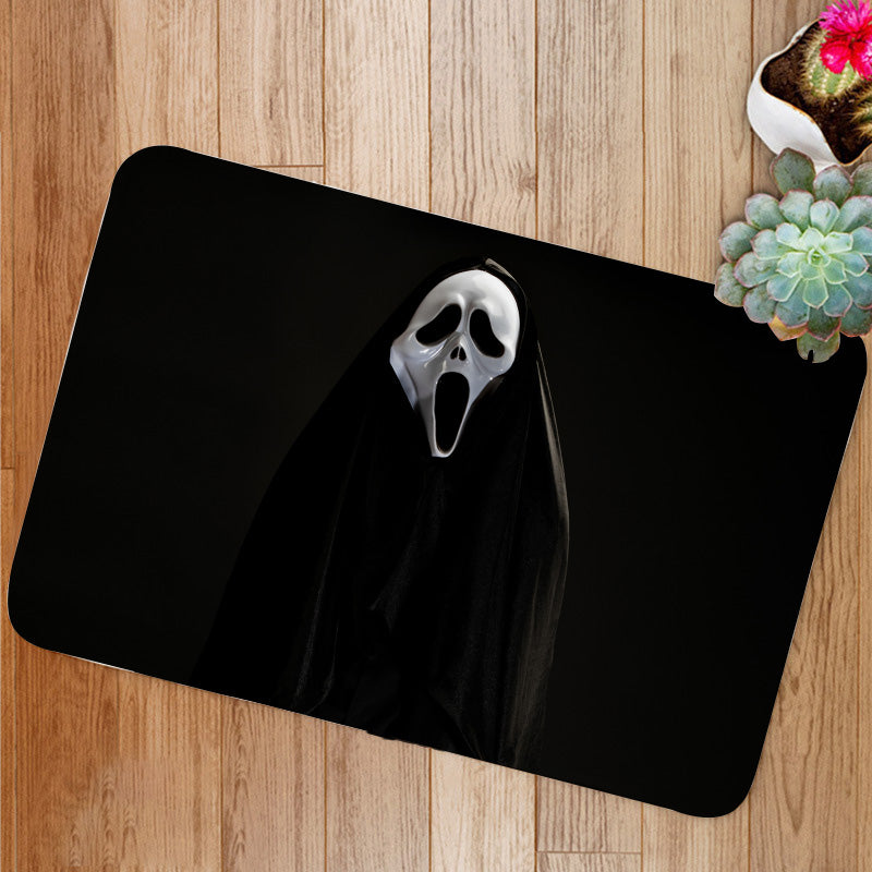White ghost mask Bath Mat