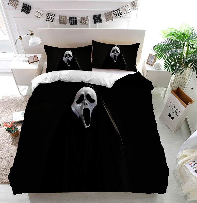 White ghost mask Duvet Cover Bedding Set