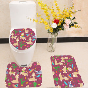 Alpaca baby and cactus 3 Piece Toilet Cover Set