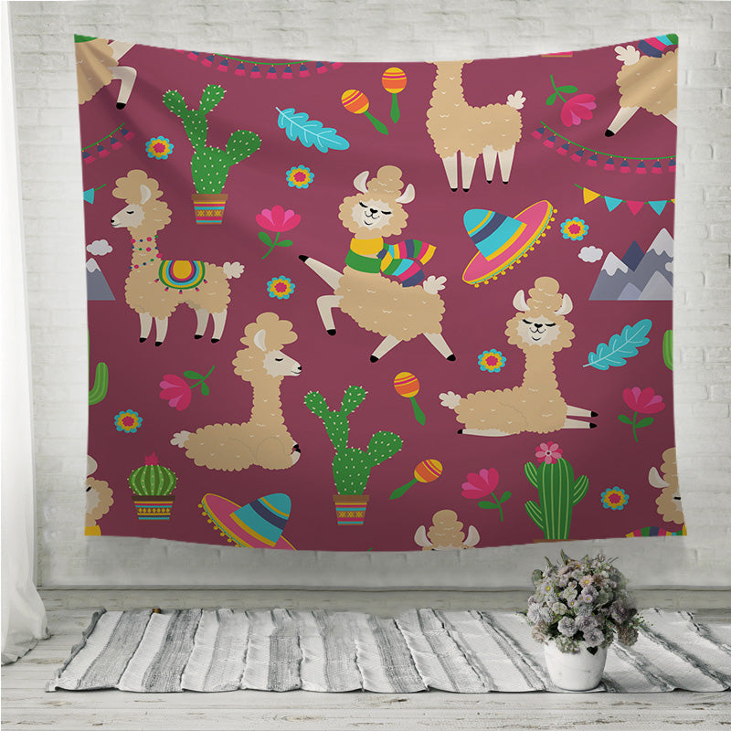 Alpaca baby and cactus Wall Tapestry