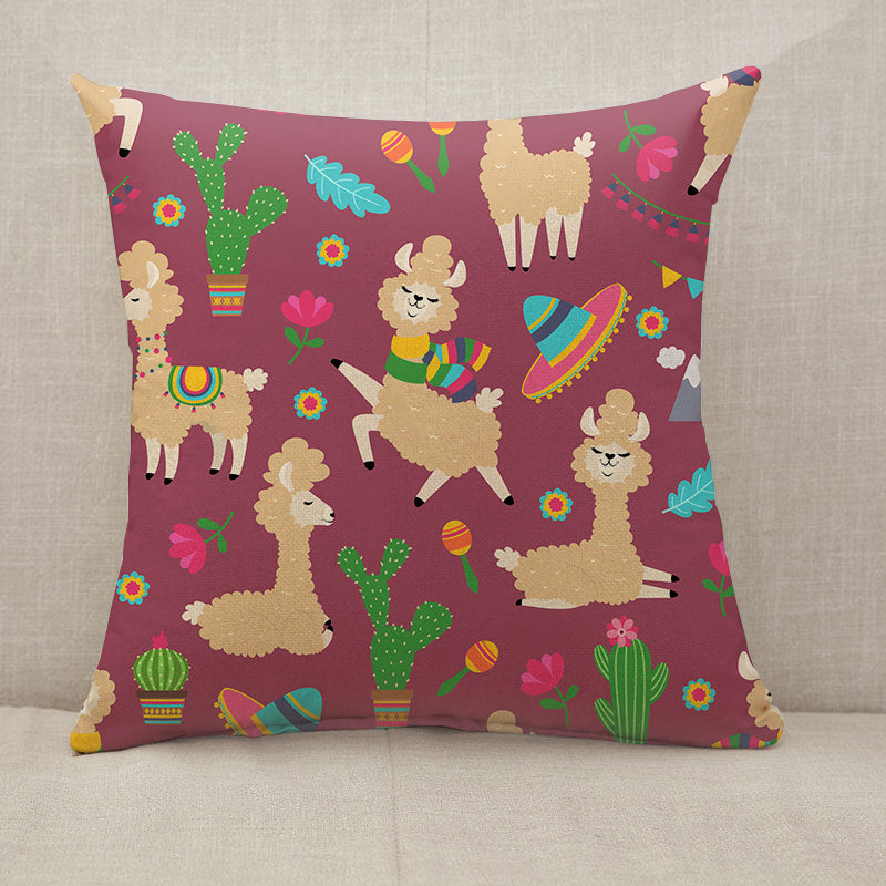 Alpaca baby and cactus Throw Pillow [With Inserts]