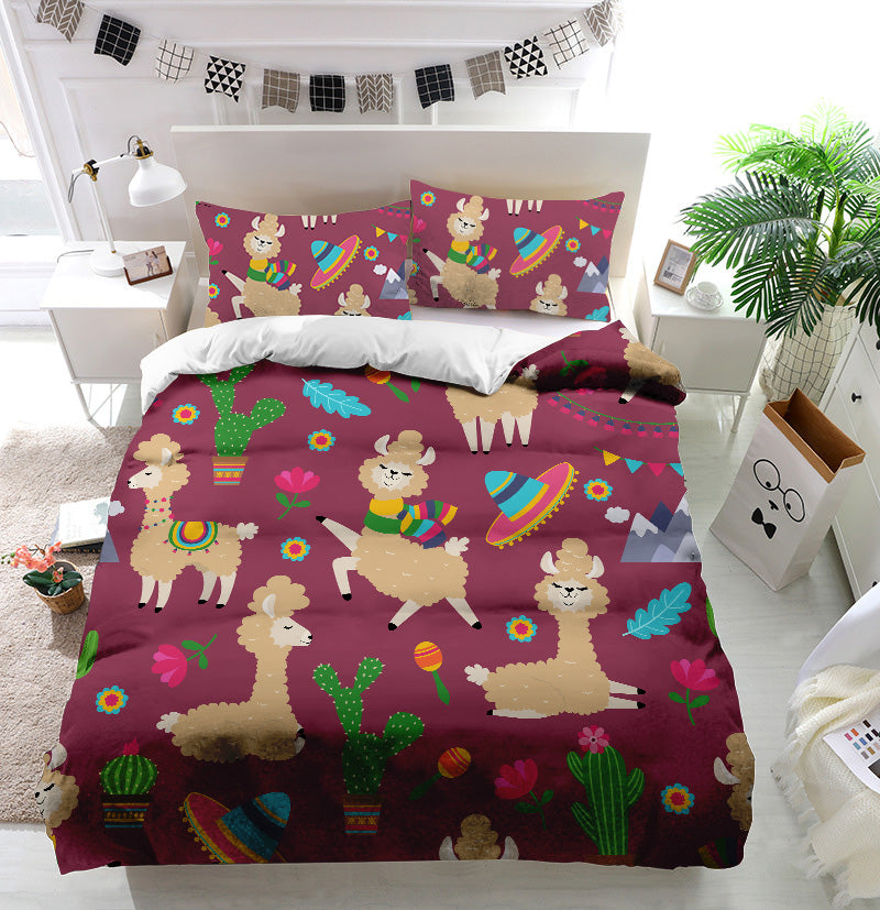 Alpaca baby and cactus Duvet Cover Bedding Set