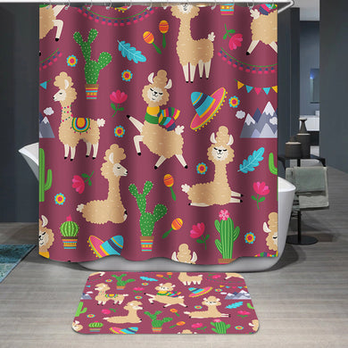 Alpaca baby and cactus Shower Curtain