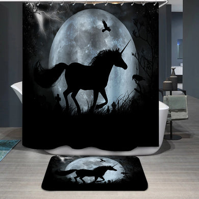 Black Unicorn Shower Curtain