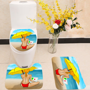 Working in paradise 3 Piece Toilet Cover Set