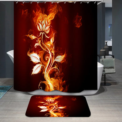 Burning flower rose Shower Curtain
