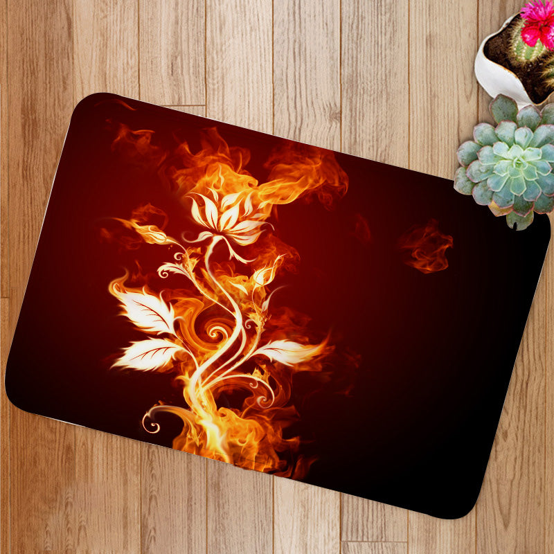 Burning flower rose Bath Mat